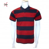 GOLF SHIRT RED SEA M A32 PIQUE STRIPE BLK/WHT L