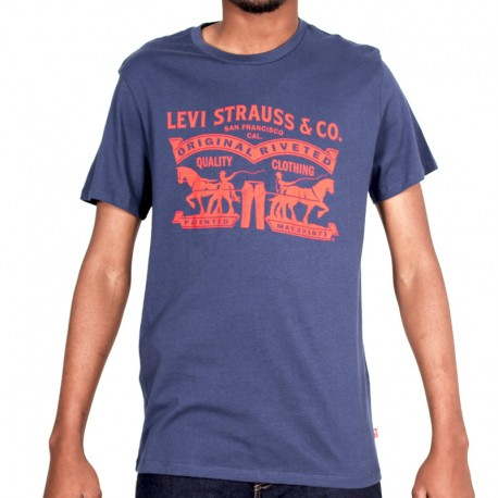 T SHIRT LEV M 17783 SET-IN-NECK 2HORSE GRAPHIC