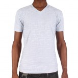 T SHIRT ZOD M V/NECK EMBOSSED PRINT