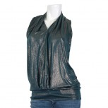 TOP FAS L S/LESS V/NECK SHINY