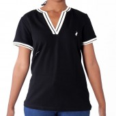 TOP POL L SIMONE SS VNECK STRETCH GOLFER