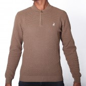 JERSEY POL M 1/4 ZIP TEXTURED LS PULL OVER