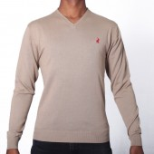 JERSEY POL M V-NECK LS PLAIN PULL OVER