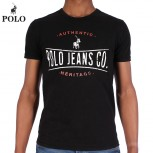 T SHIRT POL M TWO COLOUR PRINT ACID WASH
